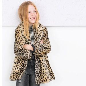 Zara Leopard Cheetah Faux Fur Kids Blogger Coat